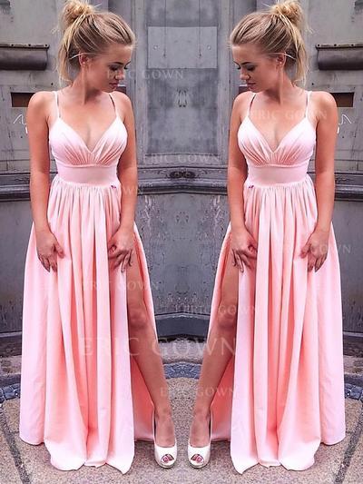 A-Line/Princess V-neck Floor-Length Chiffon Evening Dresses With Split Front (017216990)