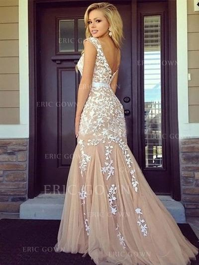 Sheath/Column Tulle Prom Dresses Appliques Lace Scoop Neck Sleeveless Floor-Length (018210216)