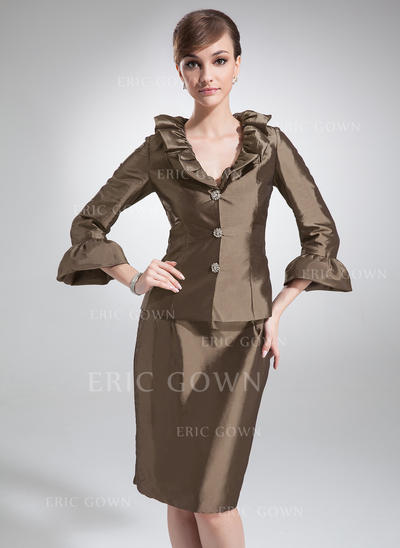 Sheath/Column Taffeta 3/4 Sleeves V-neck Knee-Length Zipper Up Mother of the Bride Dresses (008210399)