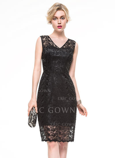 Sheath/Column V-neck Knee-Length Lace Cocktail Dress (016081181)