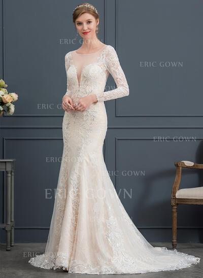 Trumpet/Mermaid Illusion Court Train Lace Wedding Dress (002171965)