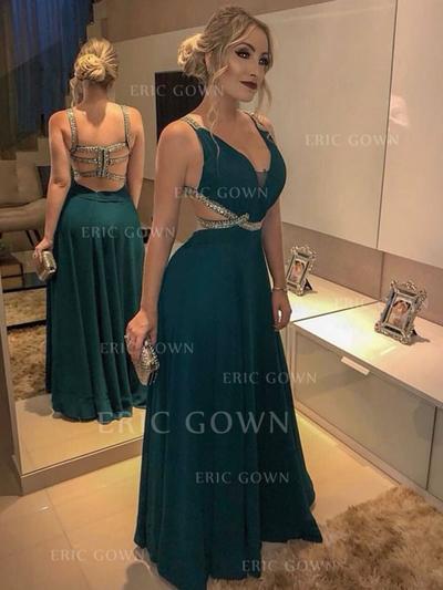 A-Line/Princess V-neck Floor-Length Evening Dresses With Beading (017219206)