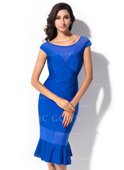 Sheath/Column Scoop Neck Knee-Length Jersey Cocktail Dress With Cascading Ruffles (022052656)