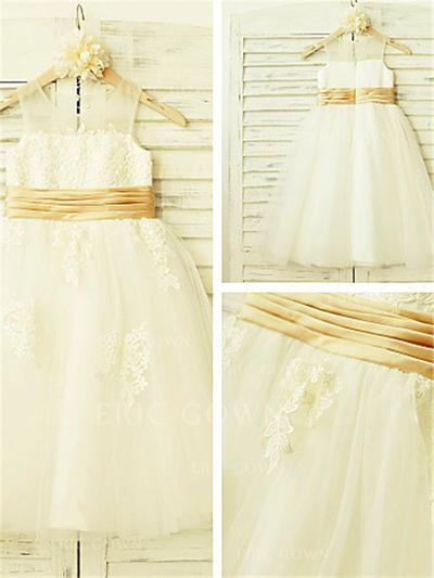 A-Line/Princess Scoop Neck Tea-length With Appliques Tulle Flower Girl Dresses (010211920)