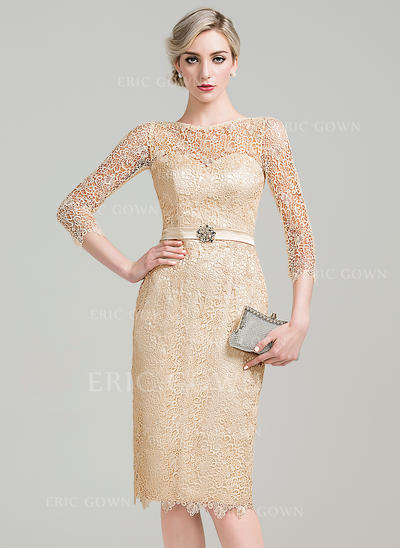 Sheath/Column Scoop Neck Knee-Length Lace Cocktail Dress With Beading Sequins (016111349)