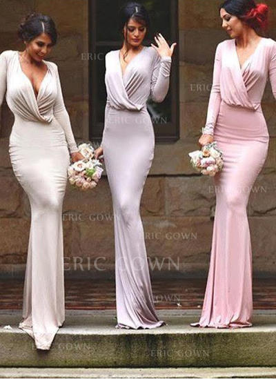 Sheath/Column Jersey Bridesmaid Dresses Ruffle V-neck Long Sleeves Floor-Length (007145000)