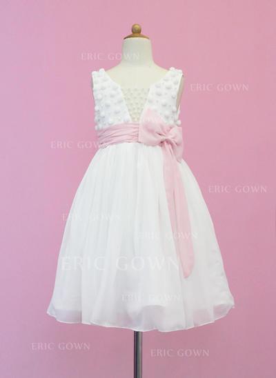 Chic Scoop Neck A-Line/Princess Flower Girl Dresses Tea-length Chiffon/Tulle Sleeveless (010005339)