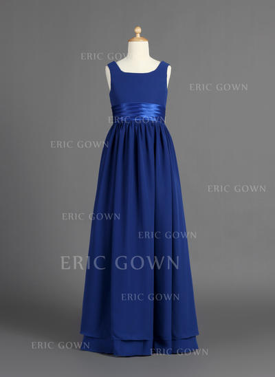 Simple Scoop Neck A-Line/Princess Flower Girl Dresses Floor-length Chiffon/Charmeuse Sleeveless (010007386)