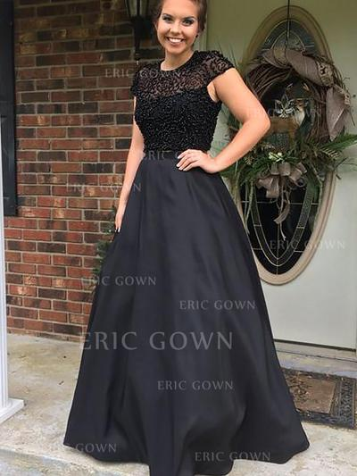 Ball-Gown Scoop Neck Floor-Length Satin Evening Dresses With Beading (017217037)