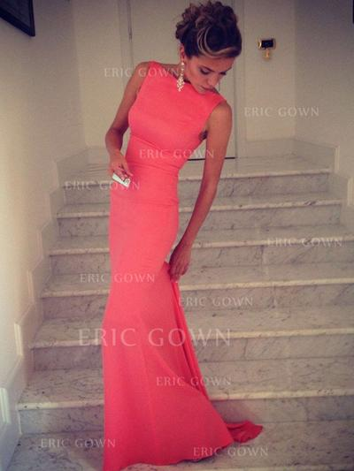 Trumpet/Mermaid High Neck Sweep Train Evening Dresses (017216505)
