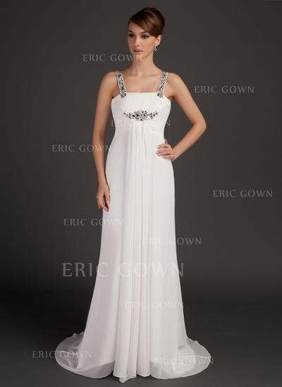 Empire Chiffon Sleeveless Scoop Neck Watteau Train Zipper Up Mother of the Bride Dresses (008211401)