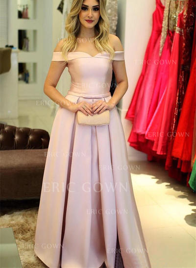 A-Line/Princess Off-the-Shoulder Floor-Length Satin Prom Dresses With Ruffle (018217366)