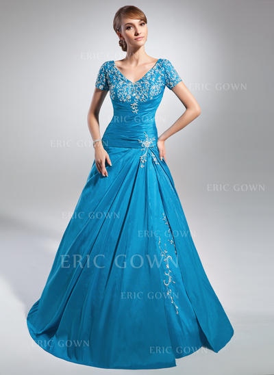 A-Line/Princess Taffeta Short Sleeves V-neck Sweep Train Lace Up Mother of the Bride Dresses (008213130)