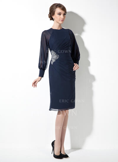 Sheath/Column Scoop Neck Knee-Length Chiffon Mother of the Bride Dress With Ruffle Beading (008021167)