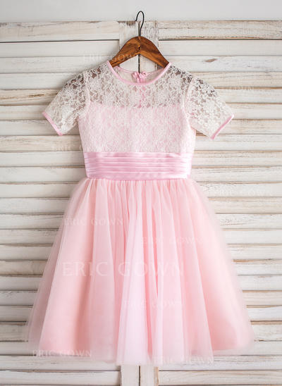 Fashion Scoop Neck A-Line/Princess Flower Girl Dresses Tea-length Tulle/Lace Short Sleeves (010210140)