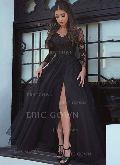 Fashion Tulle Evening Dresses A-Line/Princess Court Train V-neck Long Sleeves (017196819)
