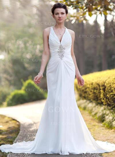 Trumpet/Mermaid V-neck Chapel Train Chiffon Wedding Dress With Ruffle Beading Sequins (002005012)