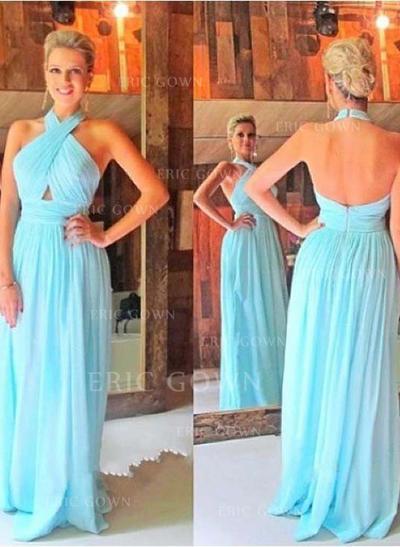 A-Line/Princess Halter Floor-Length Prom Dresses With Ruffle (018212216)