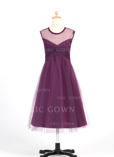 Flattering Scoop Neck A-Line/Princess Flower Girl Dresses Tea-length Tulle Sleeveless (010007655)