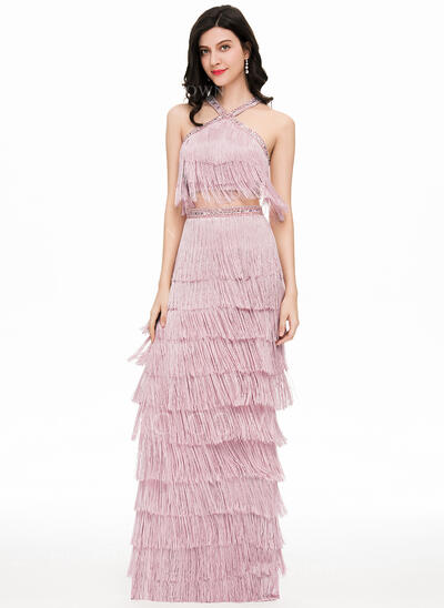 Sheath/Column Scoop Neck Floor-Length Tassel Prom Dresses With Beading (018147852)