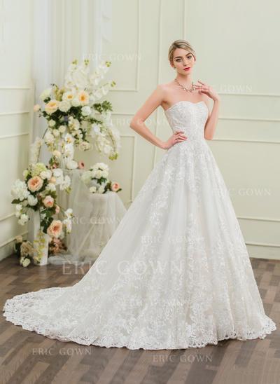 Ball-Gown Sweetheart Chapel Train Lace Wedding Dress (002095854)