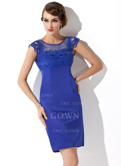 Sheath/Column Satin Sleeveless Scoop Neck Short/Mini Zipper Up Mother of the Bride Dresses (008211338)