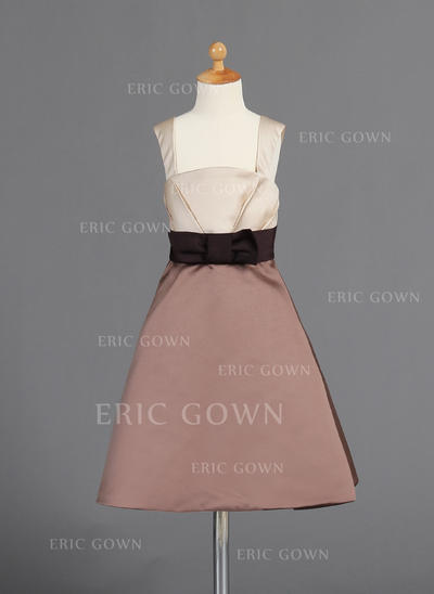Simple Straps A-Line/Princess Flower Girl Dresses Knee-length Satin Sleeveless (010008026)