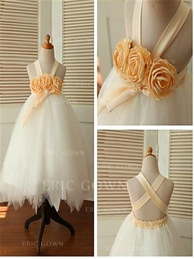 Ball Gown Straps Ankle-length With Flower(s) Tulle Flower Girl Dresses (010211894)