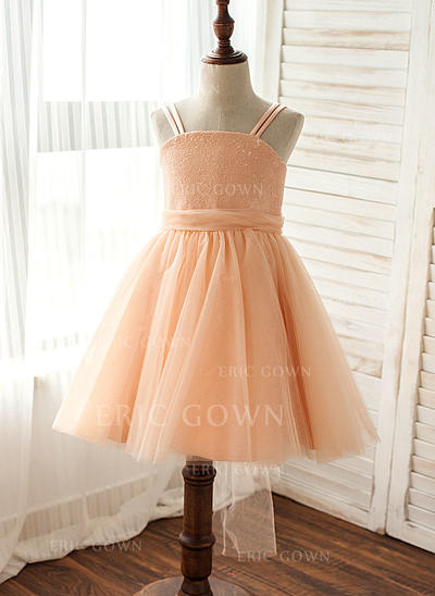 A-Line/Princess Straps Knee-length With Sequins Tulle/Sequined Flower Girl Dresses (010212079)