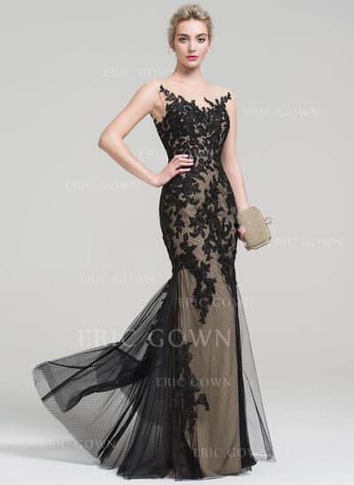 Trumpet/Mermaid Scoop Neck Floor-Length Tulle Lace Evening Dress (017093452)