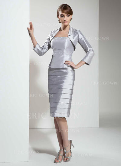 Sheath/Column Strapless Knee-Length Taffeta Mother of the Bride Dress With Beading (008005612)