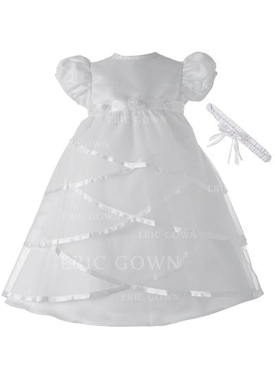 A-Line/Princess Scoop Neck Floor-length Satin Christening Gowns With Beading (2001217385)