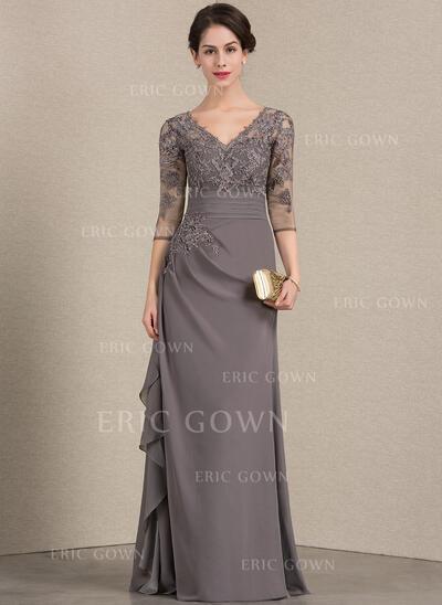 A-Line/Princess V-neck Floor-Length Chiffon Lace Evening Dress With Cascading Ruffles (017164946)