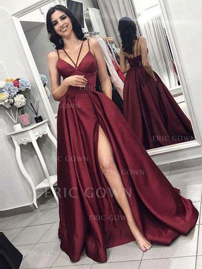 A-Line/Princess Sweep Train Prom Dresses With Ruffle (018218132)