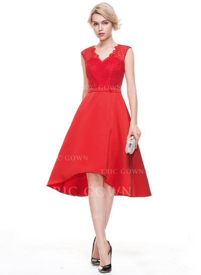 A-Line/Princess V-neck Asymmetrical Satin Homecoming Dresses (022214084)