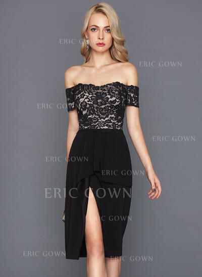 Sheath/Column Off-the-Shoulder Knee-Length Stretch Crepe Cocktail Dress With Cascading Ruffles (016124567)