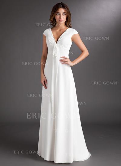 A-Line/Princess Sweetheart Sweep Train Wedding Dresses With Ruffle Beading (002213207)