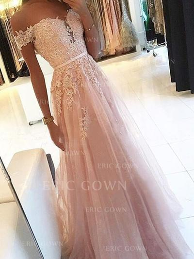 A-Line/Princess Off-the-Shoulder Floor-Length Tulle Evening Dresses With Sash Appliques Lace (017217812)