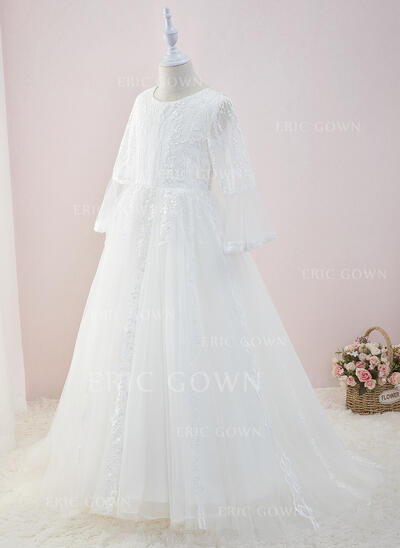 Ball-Gown/Princess Sweep Train Flower Girl Dress - Tulle/Lace Long Sleeves Scoop Neck (010195355)