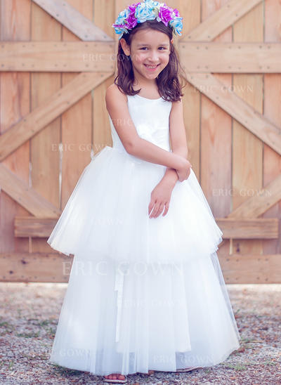 A-Line/Princess Floor-length Flower Girl Dress - Tulle/Cotton Sleeveless Scoop Neck (010089508)