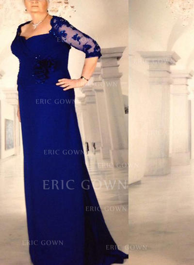 A-Line/Princess Chiffon 1/2 Sleeves Square Neckline Sweep Train Zipper Up Mother of the Bride Dresses (008212750)