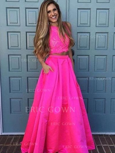A-Line/Princess Scoop Neck Floor-Length Detachable Prom Dresses With Lace (018212206)