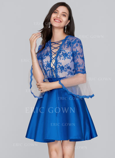 A-Line/Princess Scoop Neck Short/Mini Satin Homecoming Dresses With Beading Sequins (022214148)
