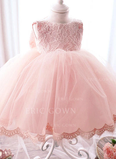 A-Line/Princess Scoop Neck Floor-length Tulle Christening Gowns With Bow(s) (2001218011)