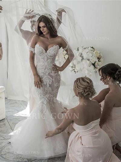 Häpnadsväckande Off Shoulder- Trumpet/Sjöjungfru Bröllopsklänningar Chapel släp Organzapåse Ärmlös (002210827)
