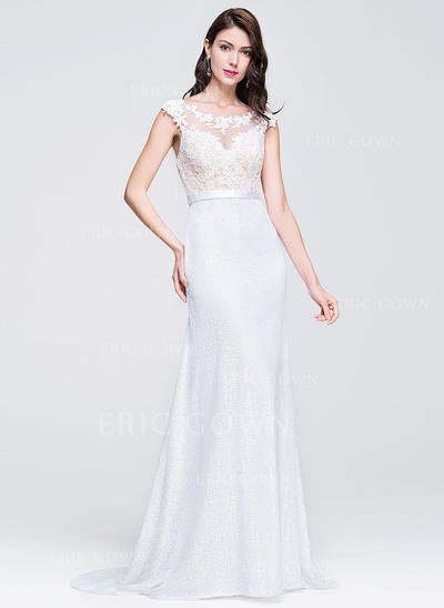 Trumpet/Mermaid Scoop Neck Sweep Train Prom Dresses (018076512)