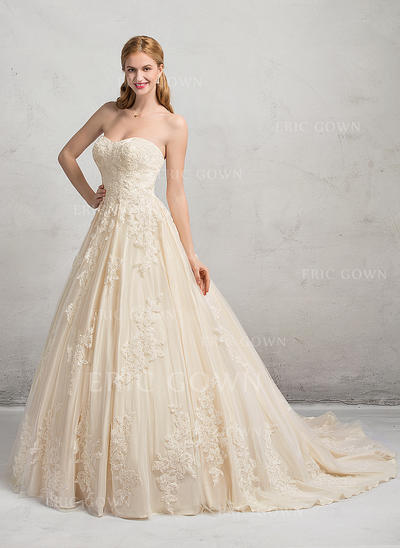 Ball-Gown Sweetheart Chapel Train Wedding Dresses (002083691)
