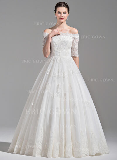 Ball-Gown Off-the-Shoulder Floor-Length Tulle Wedding Dress With Ruffle Beading Sequins (002075652)