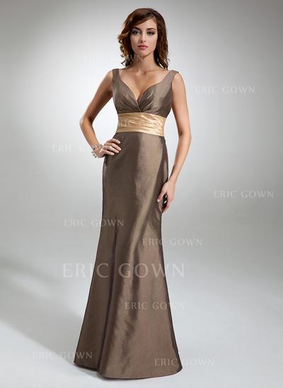 Trumpet/Mermaid Taffeta Bridesmaid Dresses Ruffle Sash V-neck Sleeveless Floor-Length (007196973)