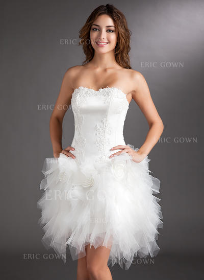 A-Line/Princess Sweetheart Asymmetrical Cocktail Dresses With Appliques Lace Flower(s) (016008220)